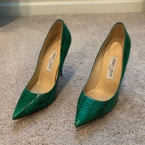 Jimmy Choo green snakeskin pumps